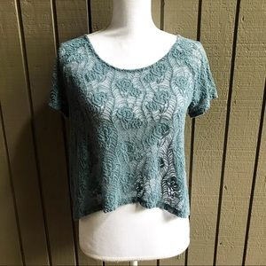 Kimchi Blue Green Lace Button Back Crop Top